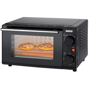 Unold 68835 OFEN Kompakt Schwarz, Mini-Backofen, zwei Mini-Pizzen, freistehend