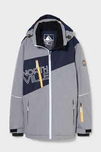 C&A Skijacke mit Kapuze-BIONIC-FINISH®ECO, Grau, Größe: 140
