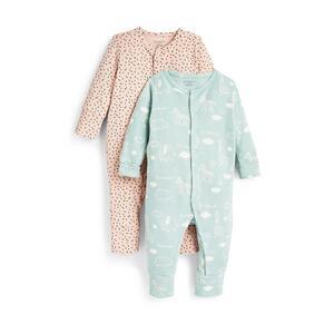 Gerippte Babyworld Schlafanzüge für Neugeborene, 2er-Pack