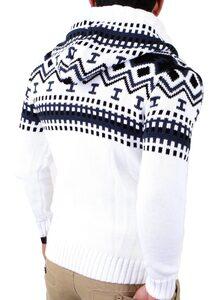 Reslad Strickpullover »Reslad Herren Grobstrick Norweger Winter Strickjac« (1-tlg) Strickjacke Zipper Hoodie