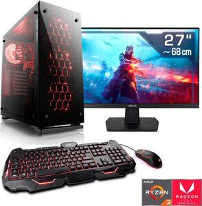 "CSL »Levitas T8189« Gaming-PC-Komplettsystem (27"", AMD Ryzen 3, Radeon Vega 8, 16 GB RAM, 1000 GB HDD, 512 GB SSD)"