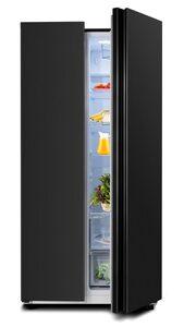 ChiQ Kühlschrank CSS433NE4F, 176.3 cm hoch, 83.9 cm breit, Side-by-Side-Kühlschrank, 430 Liter, schwarzer Stahl, Energieklasse F, kompakte Größe für einfaches Aufstellen [Energieklasse F]