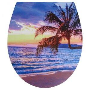 WC Sitz Relief, Palme mit Sonnenuntergang