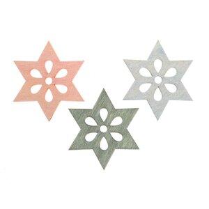 Sternstreu blau-grün-rosa 4cm 12 Stück