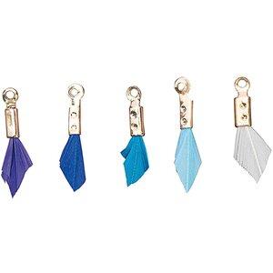 Jewellery Made by Me Anhänger Feder Mix aqua 5 Stück