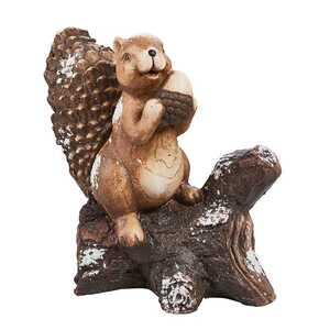 Eichhörnchen auf Baumstamm, ca. 31,5 x 17,5 x 32 cm, braun
