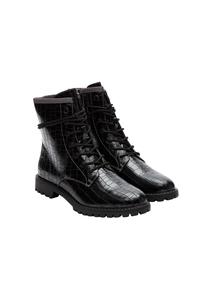 Damen Schnür-Boots in Leder-Optik