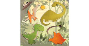 Wandsticker 3D Dinosaurier, 8-tlg. mehrfarbig