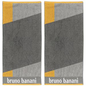 Bruno Banani Handtuch, Grau/Gelb - 2er-Set