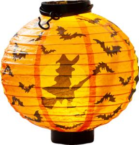IDEENWELT LED-Halloween-Lampion Orange/Hexe
