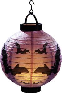 IDEENWELT LED-Halloween-Lampion Lila/Fledermaus