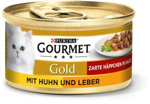 Gourmet Gold Zarte Häppchen 12x85g Huhn & Leber