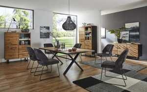 Vito - Stuhlgruppe 3107 in Charakter Eiche massiv / X-Gestell in schwarz