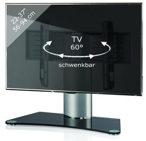 """VCM TV-Standfuß Tischfuß TV Fernseh Aufsatz Fuß Erhöhung schwenkbar drehbar """"Windoxa Mini"""" Schwarzglas"""