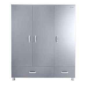 phoenix Kleiderschrank mit 3 Türen und 2 Schubladen Miami inkl Kleiderstange und Einlegeböden, chromfarbenen Griffen,Füssen und Logo, farbige Autometallic-Lackierung, hochwertige ABS-Kanten, Grau