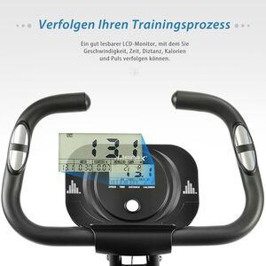 Merax Heimtrainer Ergometer 3-in-1 X-bike Fitnessbike  mit Expanderbändern, Magnetische Faltbares Fitnessfahrrad mit 10 Widerstandsstufen, Fitnessgeräte, Max. Benutzergewicht 120 kg, Weiß
