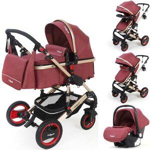 3in1 Kinderwagen Bambimo Kombikinderwagen 15-Teile Set in Elegance Rot incl. Babywanne & Buggy & Auto-Babyschale & Alu-Gestell & Gummireifen & mehr