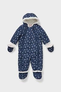 C&A Baby-Schneeanzug mit Kapuze-recycelt-geblümt, Blau, Größe: 68