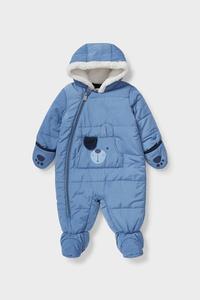C&A Baby-Schneeanzug mit Kapuze, Blau, Größe: 56
