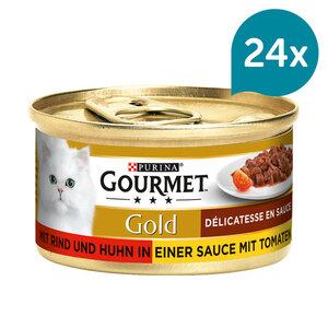 Gourmet Gold Délicatesse en Sauce Rind & Huhn 12x85g