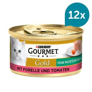 GOURMET Gold Feine Pastete Katzennassfutter mit Forelle & Tomaten 12x85g
