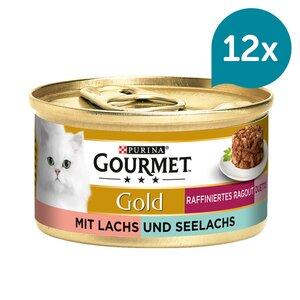 GOURMET Gold Raffiniertes Ragout Duetto Katzennassfutter mit Lachs und Seelachs 12x85g