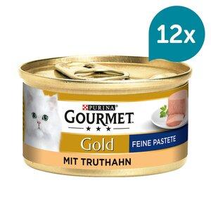 GOURMET Gold Feine Pastete Katzennassfutter mit Truthahn 12x85g