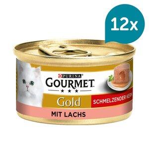 GOURMET Gold Schmelzender Kern Katzennassfutter mit Lachs 12x85g