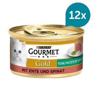 GOURMET Gold Feine Pastete Katzennassfutter mit Ente & Spinat 12x85g