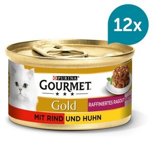 GOURMET Gold Raffiniertes Ragout Duetto Katzennassfutter mit Rind und Huhn 12x85g