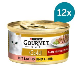 GOURMET Gold Zarte Häppchen Katzennassfutter mit Lachs & Huhn 12x85g