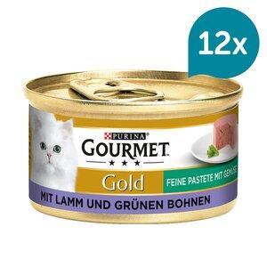 GOURMET Gold Feine Pastete Katzennassfutter mit Lamm & Grünen Bohnen 12x85g