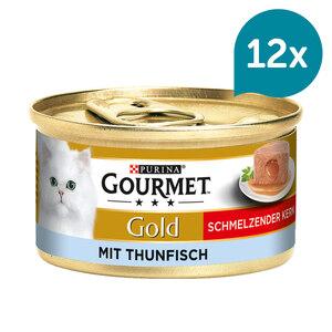 GOURMET Gold Schmelzender Kern Katzennassfutter mit Thunfisch 12x85g