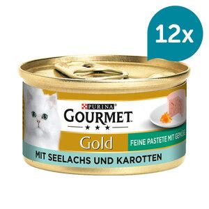 GOURMET Gold Feine Pastete Katzennassfutter mit Seelachs & Karotten 12x85g