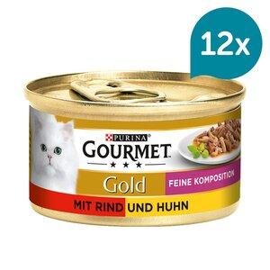 GOURMET Gold Feine Komposition Katzennassfutter mit Rind & Huhn 12x85g