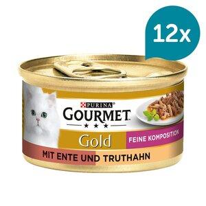 GOURMET Gold Feine Komposition Katzennassfutter mit Ente & Truthahn 12x85g
