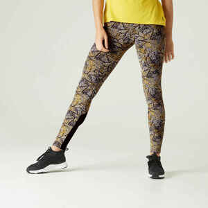 Leggings Fitness Baumwolle dehnbar hohe Taille Mesh Damen gelb mit Print