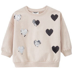 Mädchen Sweatshirt mit Wendepailletten-Herzen