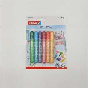 tesa Glitter-Deco/Candy Colors, 6 x 10 g Tuben, bunt sortiert