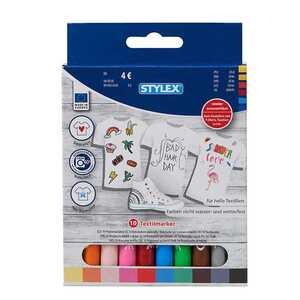 STYLEX Textil-Marker, 10 Stück, wieder auswaschbar