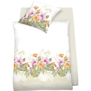 Schlafgut Mako-Satin Bettwäsche Aloha bügelleicht Blumen#Blatt überlang 155x220 cm (80x80 cm)