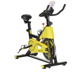 HOMCOM Fahrradtrainer höhenverstellbarer Heimtrainer mit Riemenantrieb LCD-Display Gelb+Schwarz 50 x