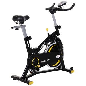 HOMCOM Fahrradtrainer mit stufenlosem Widerstand Heimtrainer mit 10KG Schwungrad Fitnessfahrrad Schw