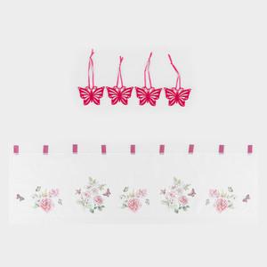 Bella Casa Kurzgardine - Rose mit Schmetterling