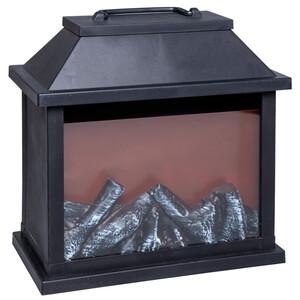 Laterne groß aus Kunststoff schwarz mit Flammeneffekt und Timerfunkion