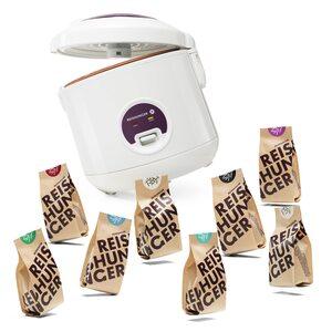 Reishunger Reiskocher 500W 1,2L + Finde deinen Lieblingsreis Set, Vegan