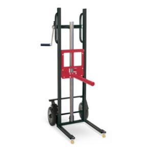 STIER Materialheber mit Aufnahmedorn, Traglast 150kg, Hubhöhe 1200mm, Vollgummi-Räder