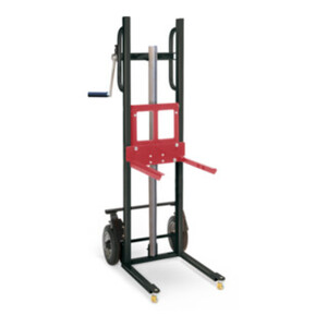 STIER Materialheber mit Gabelaufnahme, Traglast 150kg, Hubhöhe 1200mm, Vollgummi-Räder
