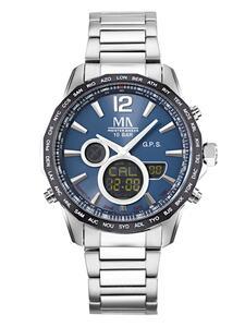 Herren-GPS-Funk-Uhr Chronograph Meister Anker Silberfarben