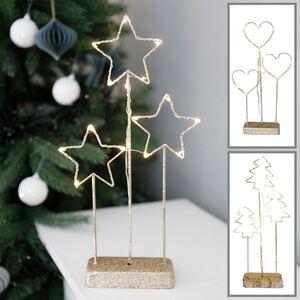 Weihnachtliche LED-Drahtdeko mit 15 warmweißen Lichtern Gold/Glitzer